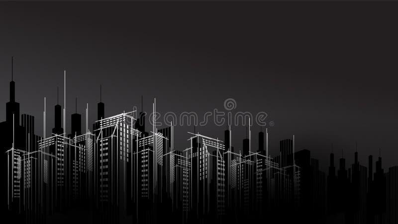 现代传染媒介黑暗的夜城市天际scape天空刮板背景 建筑企业大厦 库存例证