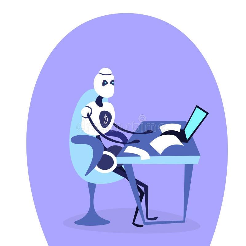 现代使用膝上型计算机马胃蝇蛆帮手人工智能运作的概念漫画人物的机器人坐的办公室工作场所 库存例证