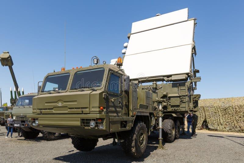 现代俄国军事流动火车站64L6M 库存图片