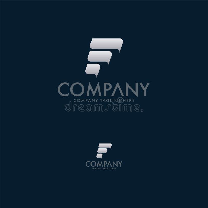 现代信件F商标设计模板 皇族释放例证