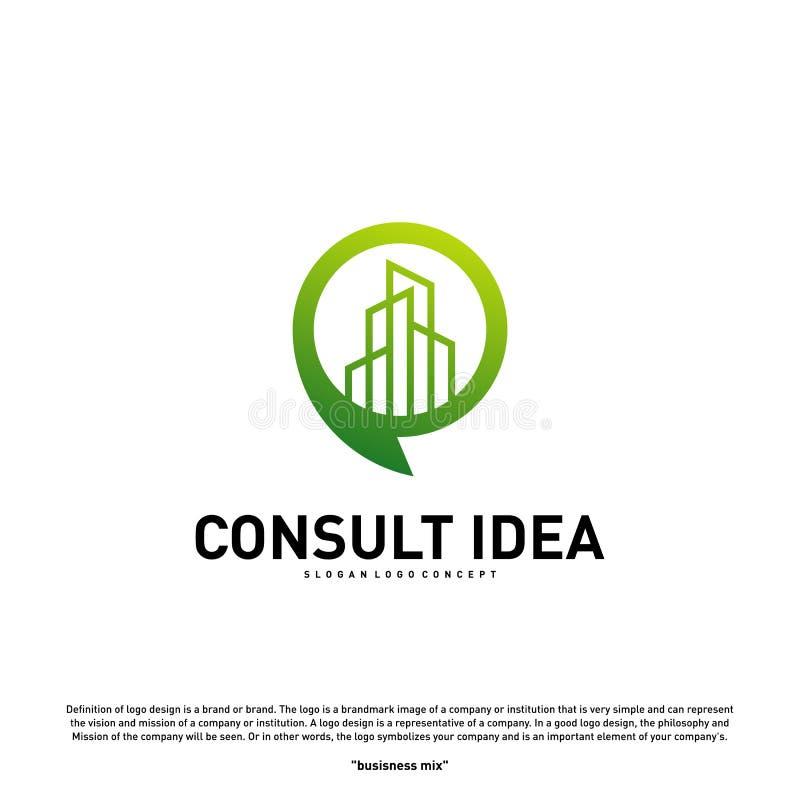 现代修造的咨询的机构商标设计模板 现代城市闲谈商标概念 库存例证