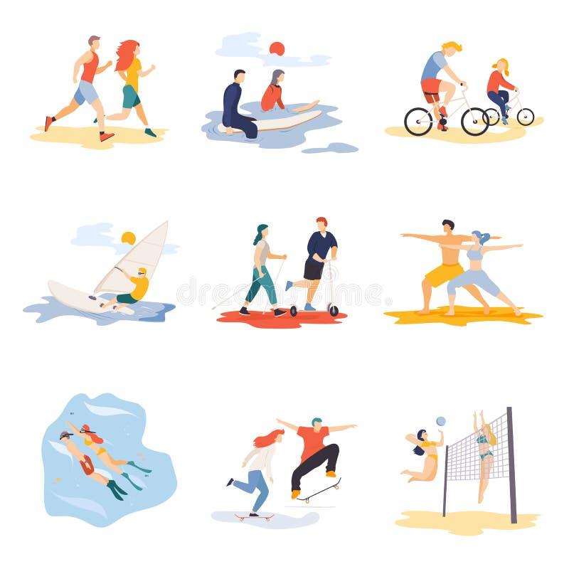 现代做夏天体育,销售横幅飞行物海报,网网上构思设计元素场面的动画片平的字符 向量例证