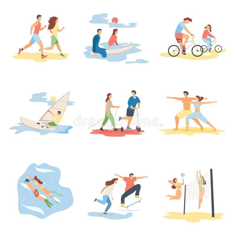 现代做夏天体育,销售横幅飞行物海报,网网上构思设计元素场面的动画片平的字符 皇族释放例证