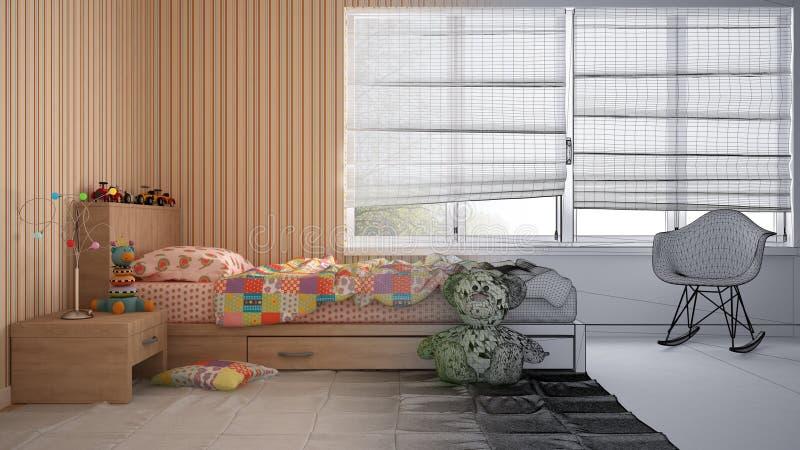 现代儿童卧室未完成的草稿项目有单人床、玩具和全景窗口的,当代内部 库存图片