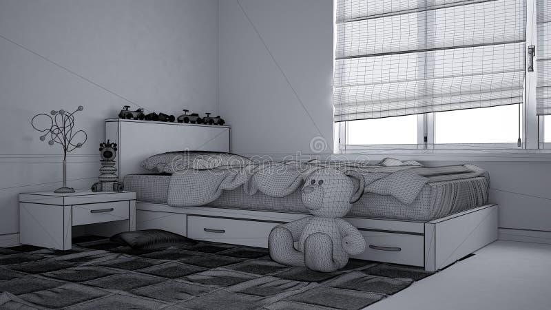 现代儿童卧室未完成的草稿项目有单人床、玩具和全景窗口的,当代内部 库存照片