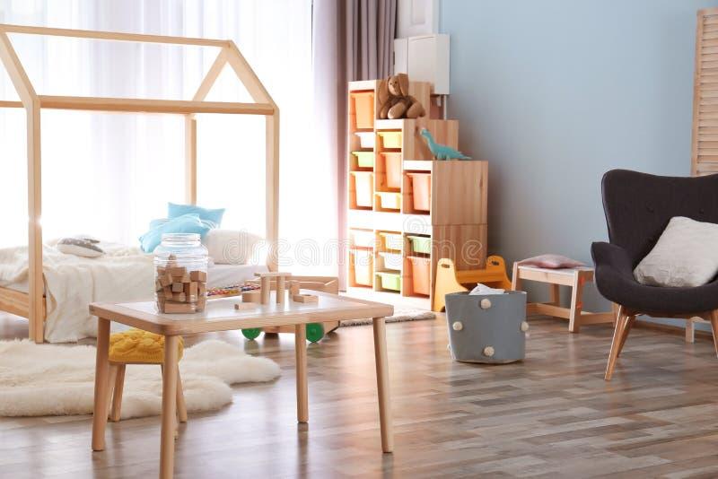 现代儿童居室内部设置 免版税库存照片