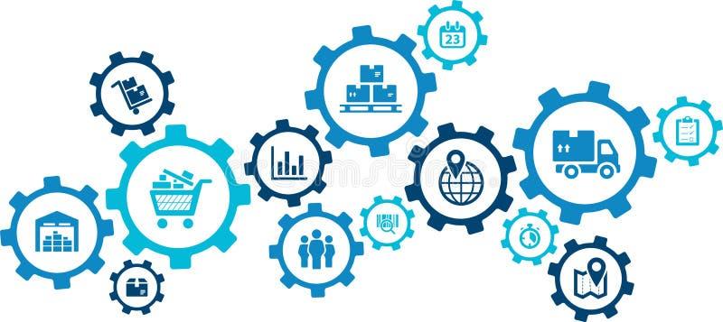 现代公司后勤学过程的方面 向量例证