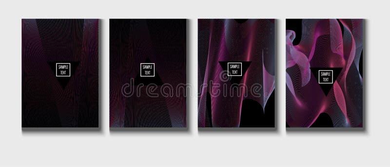 现代公司封面设计,时髦传染媒介音乐海报 几何介绍,紫色,洋红色桃红色,蓝色公司本体 皇族释放例证