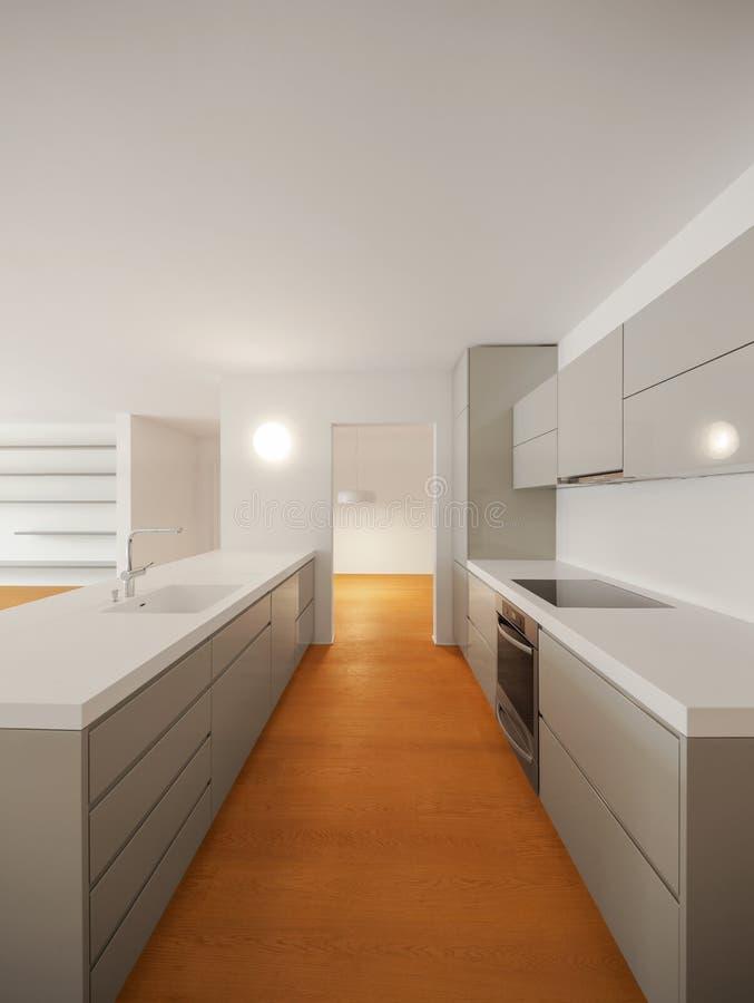 现代公寓、kitchena和corrdidor内部  库存照片