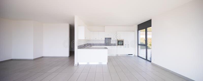 现代公寓,厨房内部  图库摄影