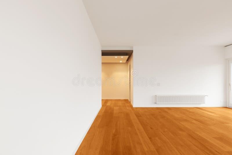 现代公寓,空的室内部  库存照片