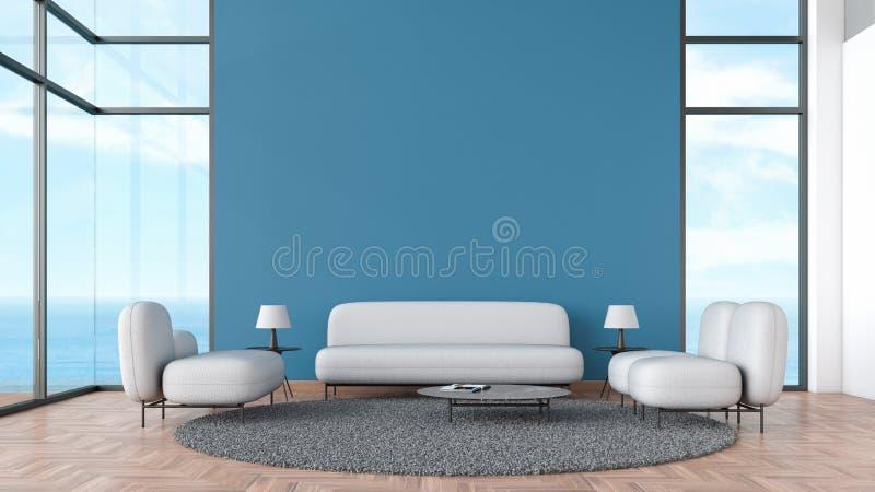 现代内部与灰色沙发和椅子窗口海视图夏天模板的客厅木地板3d翻译的嘲笑的 最小 向量例证