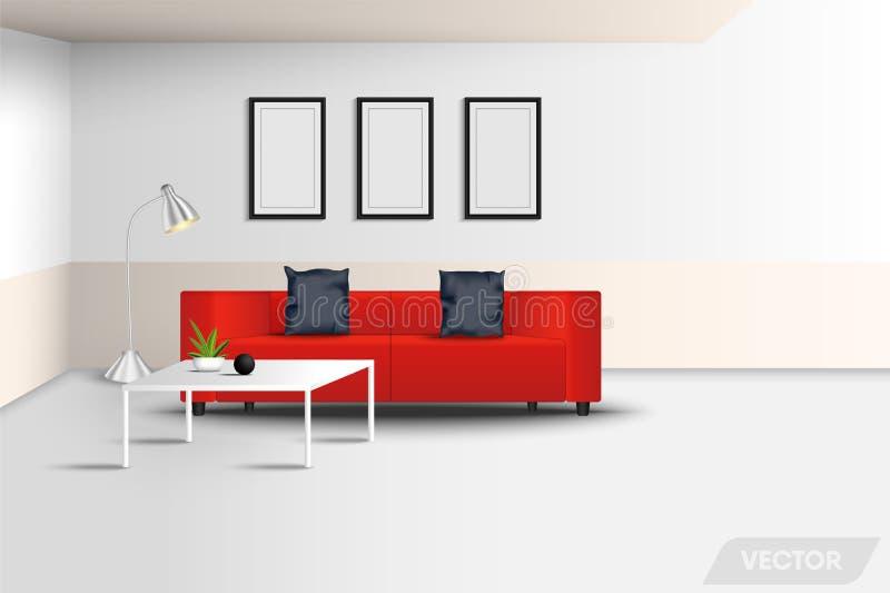 现代内部客厅和装饰家具设计,豪华红色长沙发,照片现实建筑学构筑,陶瓷 免版税库存照片