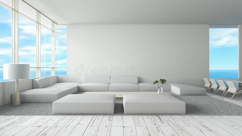 现代内部客厅木地板沙发设置了海视图夏天3d翻译 最小的室内设计 皇族释放例证