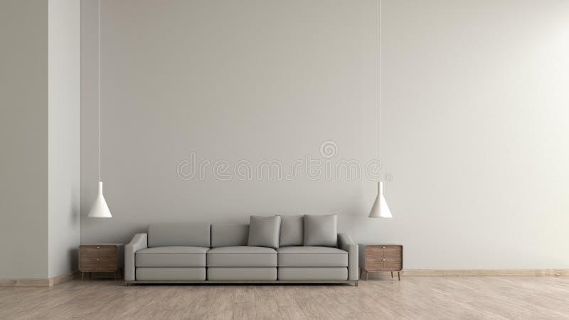 现代内部有灰色沙发模板的客厅木地板白水泥纹理墙壁3d翻译的嘲笑的 最小的生活 库存例证
