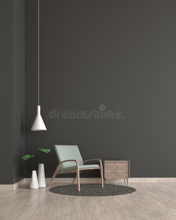 现代内部有绿色椅子模板的客厅木地板黑色墙壁3d翻译的嘲笑的 最小的客厅设计 库存例证