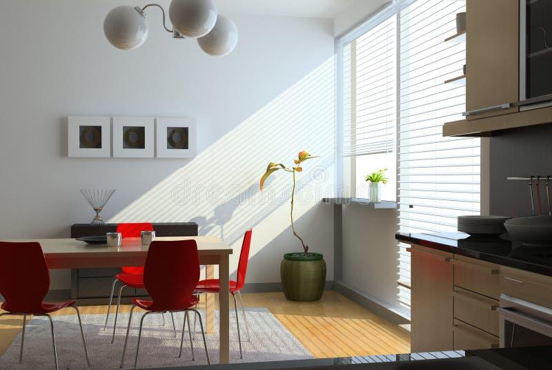 现代内部的厨房 库存例证