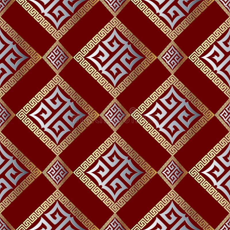 现代几何希腊关键无缝的样式 抽象红色backgr 皇族释放例证