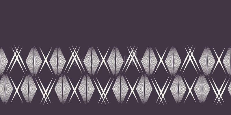 现代几何手拉的被编织的金刚石边界 重复抽象梯度V形臂章丝带修剪 装饰单色geo 皇族释放例证