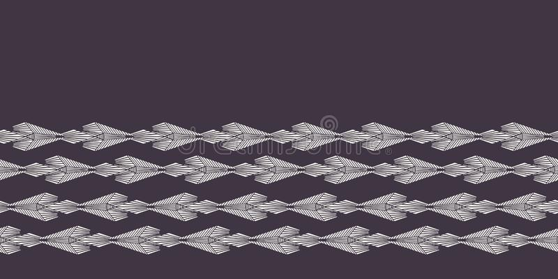 现代几何手拉的被编织的金刚石边界 重复抽象梯度V形臂章丝带修剪 装饰单色geo 库存例证