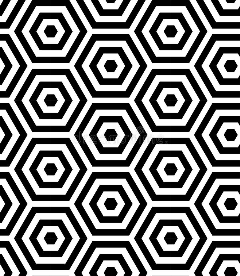 现代几何线性平行的六角形 时髦无缝的传染媒介样式 库存例证