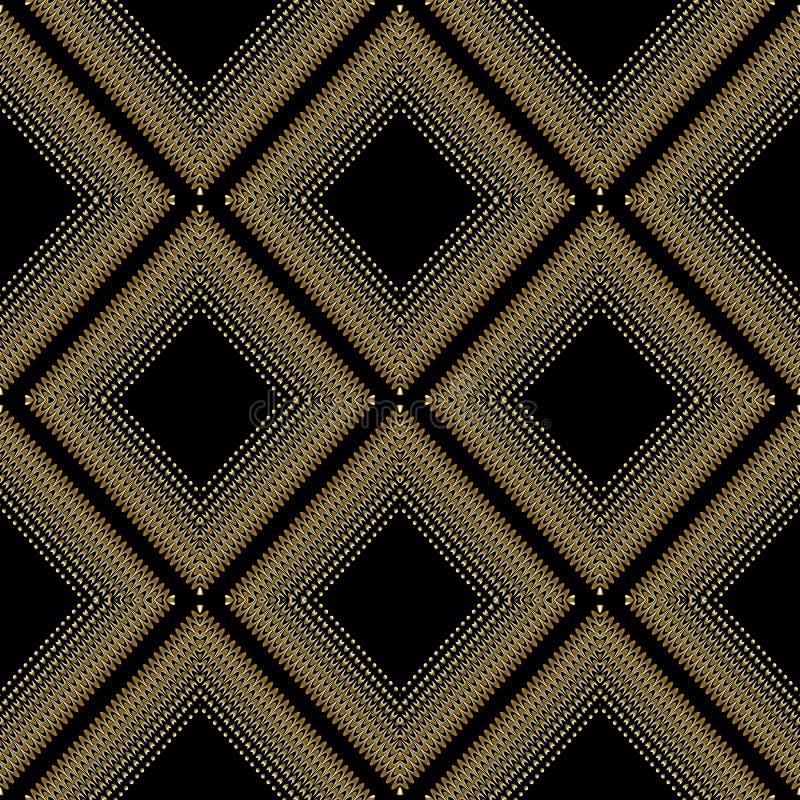 现代几何菱形无缝的样式 传染媒介抽象黑色 皇族释放例证