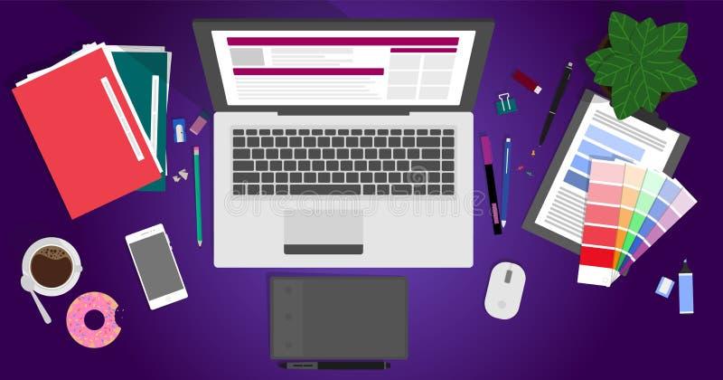 现代创造性的办公室工作区,设计师的工作场所的平的设计传染媒介例证 库存例证