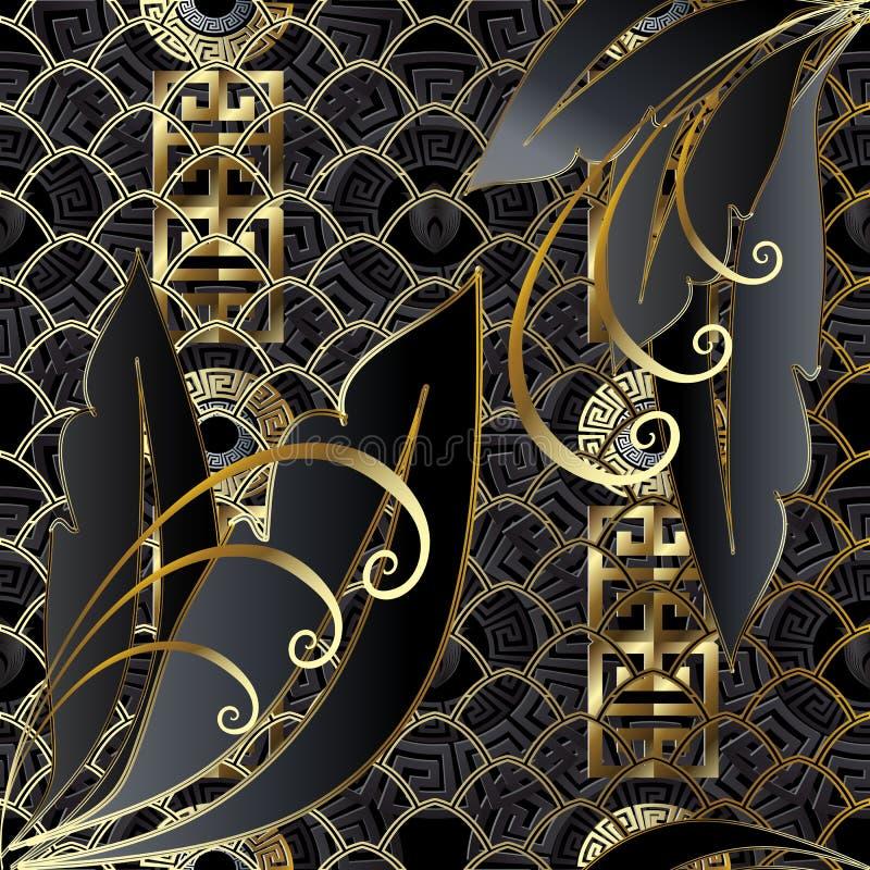 现代创造性的金子和黑3d无缝的样式 向量例证