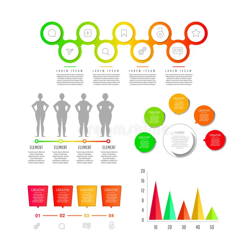 现代创造性的infographics元素收藏 向量例证