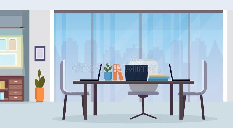 现代办公室内部工作场所书桌创造性的共同工作的中心不倒空平展水平人的工作区 皇族释放例证