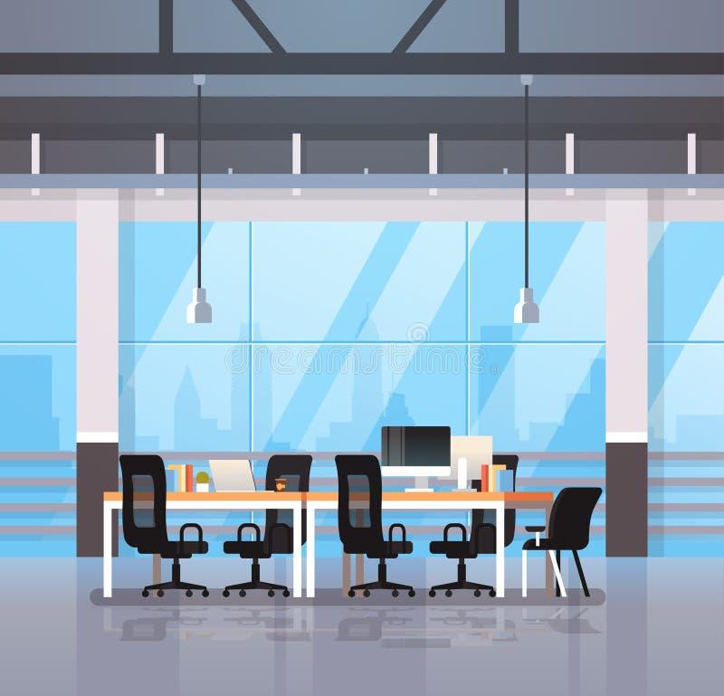 现代办公室内部工作场所书桌创造性的共同工作的中心工作区都市风景背景舱内甲板 皇族释放例证