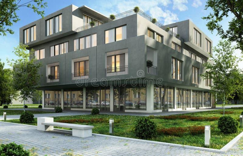现代办公室和公寓在城市的一个绿色住宅区 免版税库存图片