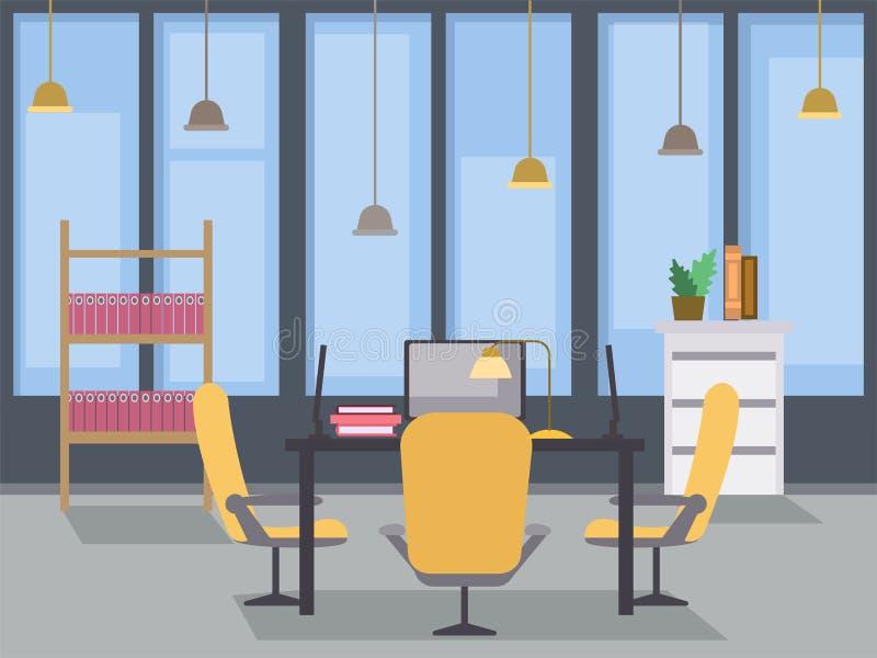 现代办公室室内设计平的例证 Coworking露天场所,有桌的当代修造的工作场所 皇族释放例证