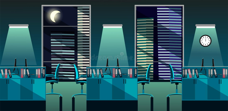 现代办公室室内部的平的传染媒介例证与大窗口的在有桌和个人计算机的摩天大楼在晚上 r 皇族释放例证
