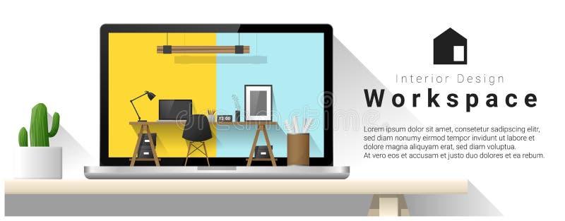 现代办公室工作场所室内设计  库存例证