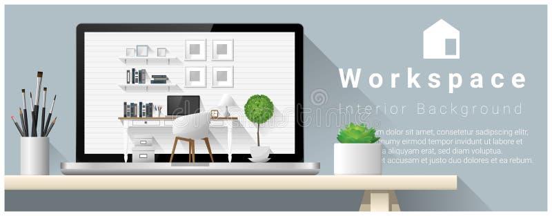现代办公室工作场所室内设计  皇族释放例证
