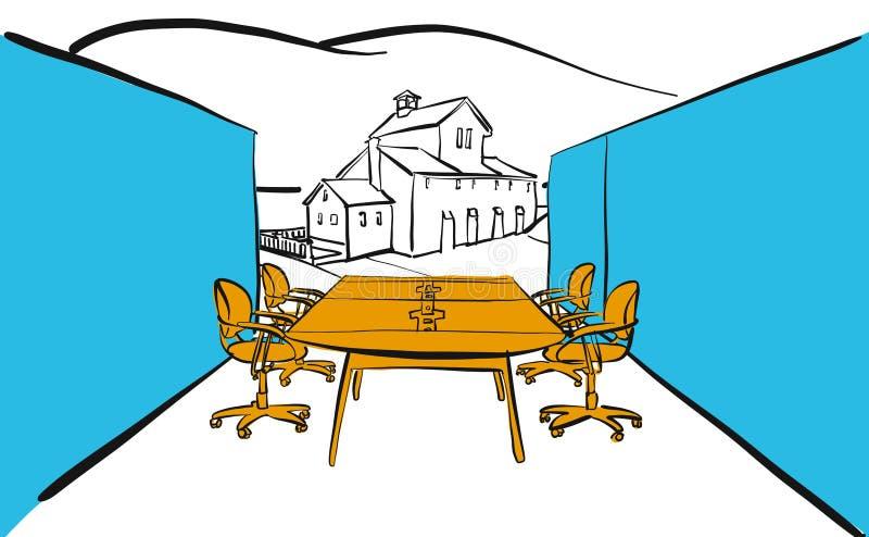 现代办公室桌场面室外概念 库存例证