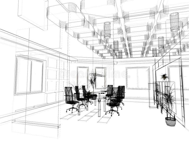 现代办公室草图 库存图片