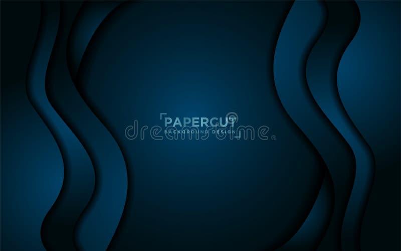 现代动态液体深蓝背景 皇族释放例证