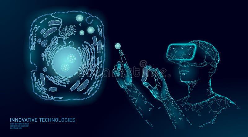 现代医学虚拟现实细胞裂缝合拢 人为细胞3D综合动物人的设计师细胞生物化学 Gmo 向量例证