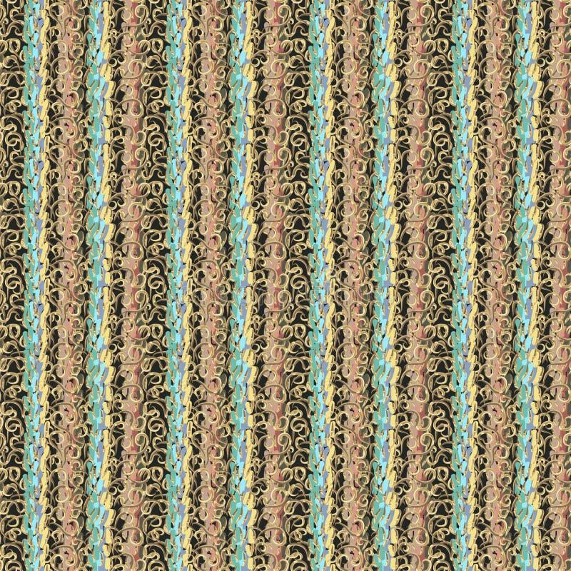 现代华丽镶边传染媒介无缝的样式 摘要多色的刷子冲程和金黄卷毛 向量例证