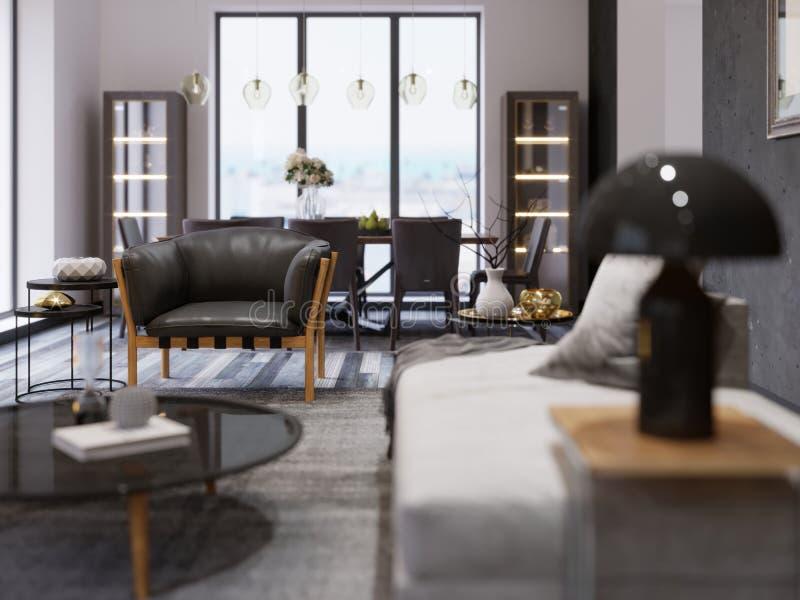 现代单室公寓的内部与饭厅和饭桌的 在顶楼样式的黑设计师扶手椅子 景深支持一个波斯地毯细节 皇族释放例证