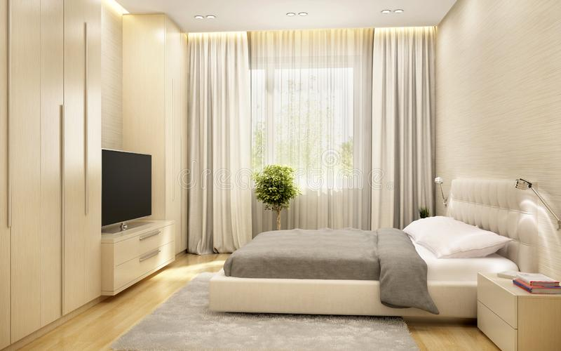 现代卧室在一家大旅馆里 库存照片