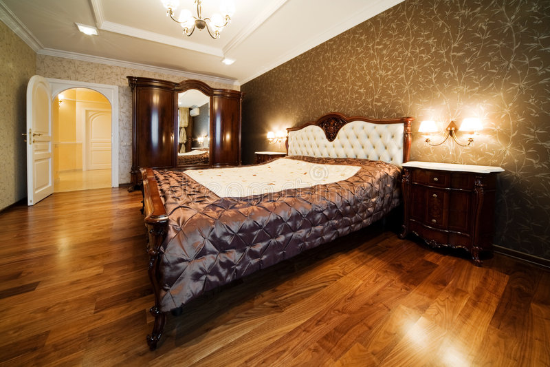 现代卧室 免版税库存图片