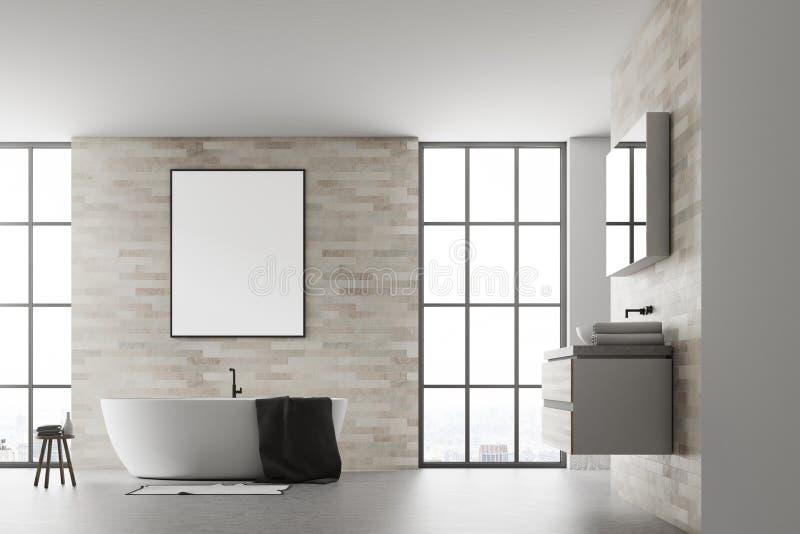 现代卫生间内部海报白色 向量例证
