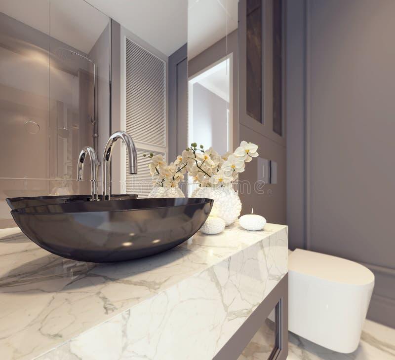 现代卫生间内部装饰业 库存例证