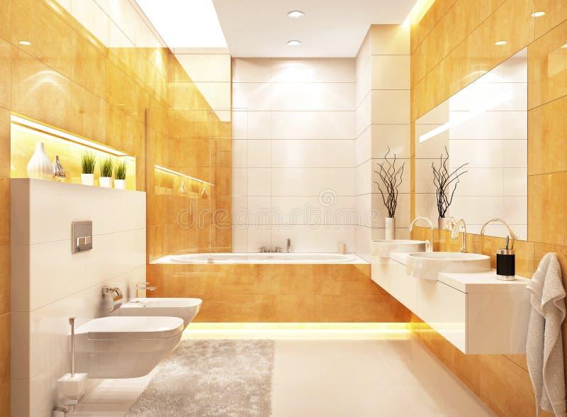 现代卫生间室内设计在现代房子里 免版税库存照片