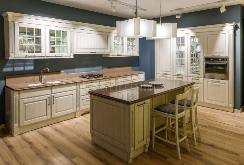 现代厨房内部有木内阁的 免版税库存照片