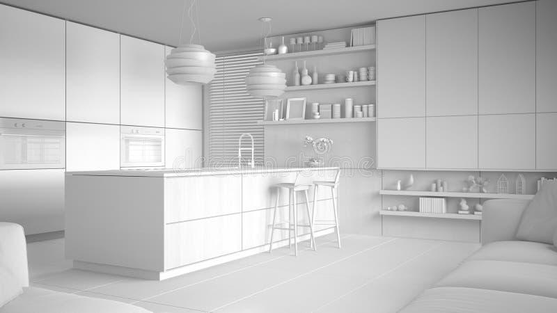 现代厨房和内阁,有凳子的海岛总白色项目有架子的 当代客厅,最低纲领派architec 库存例证