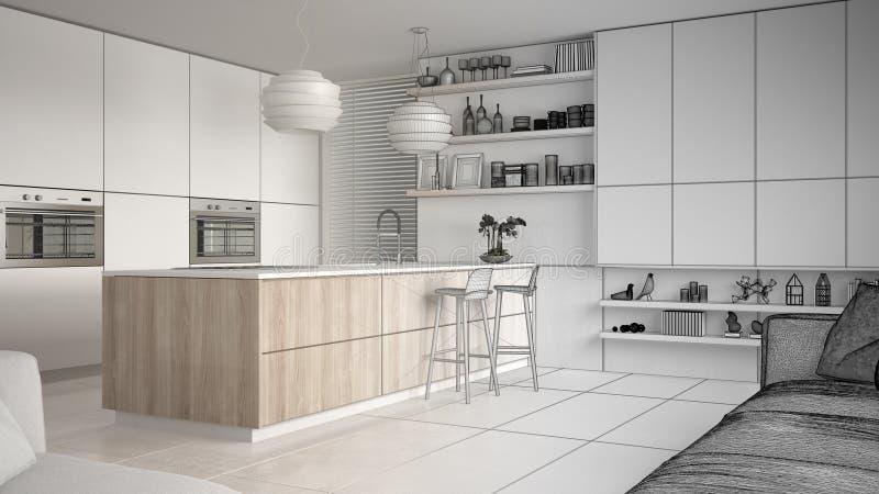 现代厨房和内阁,有凳子的海岛未完成的项目草稿有架子的 当代客厅,最低纲领派弧 向量例证